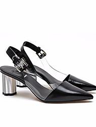 preiswerte -Damen Schuhe Leder Sommer / Herbst Pumps Sandalen Blockabsatz Weiß / Schwarz