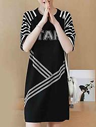 abordables -Femme Tee Shirt Robe Rayé / Lettre Au dessus du genou