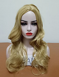 abordables -Pelucas sintéticas Ondulado Parte media Gran venta Dorado Mujer Sin Tapa Peluca de cosplay Larga Pelo sintético Diario