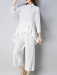 cheap -Women's Sophisticated / Street chic Set - Striped, Ruffle Pant
