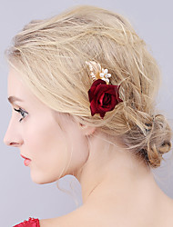 cheap -Fabrics Hair Pin with Floral 1 Piece Wedding / Party / Evening Headpiece