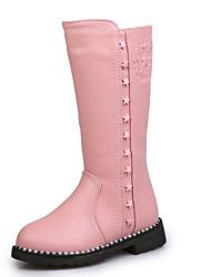 baratos -Para Meninas Sapatos Courino Inverno Botas de Neve Botas Ziper para Preto / Vermelho / Rosa claro