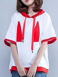 abordables -Mujer Algodón Camiseta, Cuello Camisero Corte Ancho Geométrico