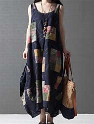 お買い得  -女性用 シャツ ドレス カラーブロック ミディ
