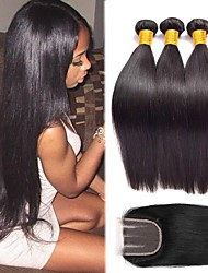 cheap -Brazilian Hair Straight Hair Weft with Closure Human Hair Weaves Gift / Best Quality / Hot Sale Natural Black Women's