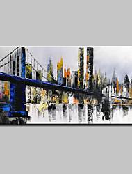 abordables -Pintura al óleo pintada a colgar Pintada a mano - Paisaje Arquitectura Modern Lona