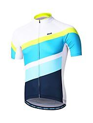 baratos -Arsuxeo Homens Manga Curta Camisa para Ciclismo - Azul / branco Moto Camisa / Roupas Para Esporte, Tiras Refletoras, Redutor de Suor