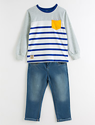 cheap -Boys' Stripe Clothing Set, Cotton Polyester Spring Fall Long Sleeves Dresswear Stripes Blue