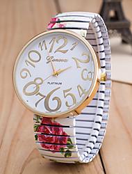 Недорогие -Жен. Наручные часы Китайский Повседневные часы / Крупный циферблат сплав Группа Цветы / Мода Черный / Белый / Зеленый