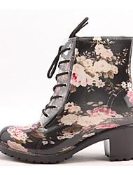 cheap -Women's Shoes PVC Leather Fall Rain Boots Boots Chunky Heel Black / Light Blue