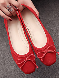 abordables -Femme Chaussures Polyuréthane Printemps Confort Ballerines Talon Plat Rouge / Vert / Rose