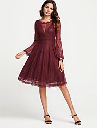 baratos -Mulheres Básico Evasê Vestido Sólido Médio