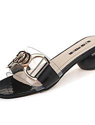 abordables -Femme Chaussures Polyuréthane Eté Confort Chaussons & Tongs Talon Bottier Noir / Beige / Kaki
