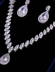 Недорогие -Жен. Цирконий Комплект ювелирных изделий - Мода, Элегантный стиль Включают Серьги-слезки / Ожерелья с подвесками Белый Назначение Свадьба / Для вечеринок