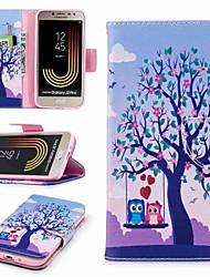 Недорогие -Кейс для Назначение SSamsung Galaxy J7 (2017) J2 PRO 2018 Бумажник для карт Кошелек со стендом Флип С узором Чехол дерево Сова Твердый