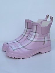 baratos -Mulheres Sapatos Borracha Primavera Botas de Chuva Botas Sem Salto para Rosa claro