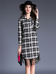 cheap -Women's Street chic Cotton Slim Shirt Dress - Check Black & White, Lace / Tassel / Patchwork High Waist Shirt Collar