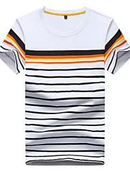 baratos -Homens Camiseta Listrado Algodão / Raiom Decote Redondo / Por favor, sempre escolha um número maior que o seu número normal.