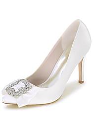 abordables -Femme Chaussures Satin Printemps été Escarpin Basique Chaussures de mariage Talon Aiguille Bout pointu Strass Bleu royal / Champagne /