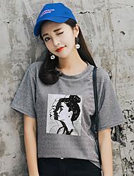 baratos -Mulheres Camiseta Básico Estampado, Sólido / Retrato Solto / Verão
