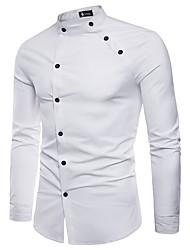 Недорогие -Муж. Рубашка Хлопок Однотонный / Пожалуйста, выбирайте изделие на размер больше вашего обычного размера / Длинный рукав