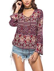 cheap -Women's Holiday Active / Boho Cotton Loose Shirt - Geometric / Color Block Print V Neck / Spring / Summer