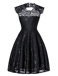 cheap -Women's Vintage / Basic A Line / Sheath / Little Black Dress - Solid Colored Lace / Cut Out / Lace Trims