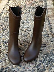 Недорогие -Жен. Обувь ПВХ Наступила зима Резиновые сапоги Ботинки На плоской подошве Сапоги до середины икры Черный / Серый / Коричневый