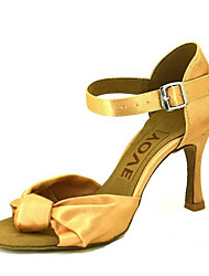 cheap -Women's Latin Shoes / Salsa Shoes Satin Sandal / Heel Buckle / Ribbon Tie Customized Heel Customizable Dance Shoes Bronze / Almond / Nude / Performance / Leather / Professional
