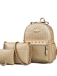 cheap -Women's Bags PU Leather Bag Set 3 Pcs Purse Set Pattern / Print for Outdoor Gold / Black / Blushing Pink