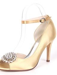 abordables -Mujer Zapatos Satén Primavera verano Pump Básico Zapatos de boda Tacón Stiletto Punta abierta Pedrería Rojo / Champaña / Marfil