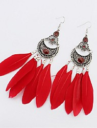 cheap -Cubic Zirconia Tassel Drop Earrings - Feather Ethnic, Fashion, Oversized Light Yellow / Red / Green For Carnival Street