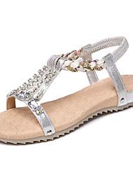 preiswerte -Damen Schuhe PU Sommer Komfort Sandalen Niedriger Heel Strass Gold / Silber
