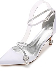 preiswerte -Damen Schuhe Satin Frühling Komfort / D'Orsay und Zweiteiler / Pumps Hochzeit Schuhe Konischer Absatz Spitze Zehe Strass / Schleife /