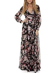 abordables -Mujer Sofisticado Vaina Vestido - Acordonado / Estampado, Floral Maxi