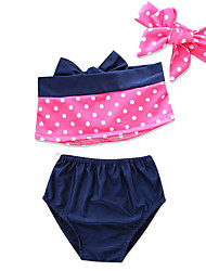 cheap -Kids / Infant / Newborn Girls' Solid Colored / Polka Dot / Color Block Sleeveless Swimwear
