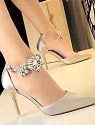 baratos -Mulheres Sapatos Cetim Verão Plataforma Básica Saltos Salto Agulha Verde / Azul / Rosa claro