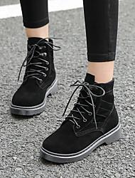 Недорогие -Жен. Обувь Кожа Весна Удобная обувь Ботинки На низком каблуке Черный / Миндальный