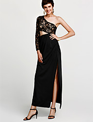 cheap -Women's Club Street chic Sheath Dress - Patchwork Black, Backless Split High Rise Maxi One Shoulder