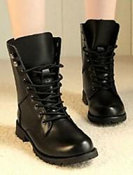 baratos -Mulheres Sapatos Couro Ecológico Outono Coturnos Botas Salto Baixo Botas Cano Médio Preto