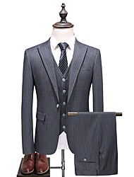 cheap -Men's Plus Size Suits-Striped Notch Lapel / Long Sleeve