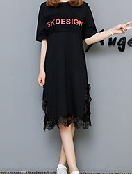 cheap -Women's Basic Butterfly Sleeves T Shirt Dress - Letter Black & White, Lace