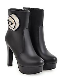 baratos -Mulheres Sapatos Couro Ecológico Outono & inverno Botas da Moda Botas Salto Robusto Dedo Apontado Botas Cano Médio Rendado Branco / Preto / Rosa claro