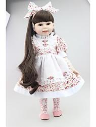 Недорогие -NPKCOLLECTION NPK DOLL Модная кукла Девушка из провинции 18 дюймовый Полный силикон для тела Силикон - Подарок Очаровательный Искусственная имплантация Коричневые глаза Детские Игрушки Подарок