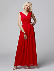 cheap -A-Line Straps Floor Length Chiffon Bridesmaid Dress with Criss Cross by LAN TING BRIDE®