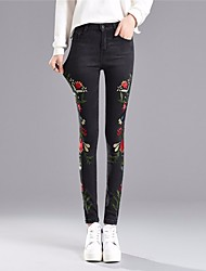 cheap -Women's Basic Jeans Pants - Solid Colored / Color Block Embroidered