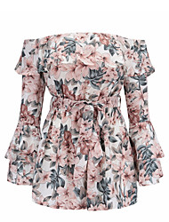 cheap -Dreamy Land women's going out romper - floral wide leg boat neck