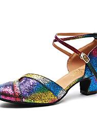 Недорогие -Жен. Танцевальная обувь Лакированная кожа Обувь для модерна Пайетки На каблуках Толстая каблук Цвет радуги / Тренировочные / EU40