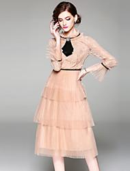 Недорогие -Жен. Винтаж / Изысканный Вспышка рукава А-силуэт Платье - Однотонный, Кружева Средней длины
