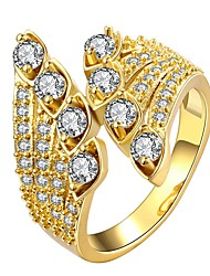 baratos -Mulheres Diamante sintético Anel de banda - Chapeado Dourado Estilo bonito 7 / 8 Dourado / Ouro Rose Para Diário Encontro